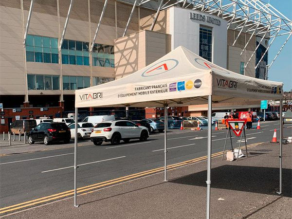 V3 PRO folding tent in front of Leeds' stadium